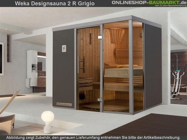 Weka Wellnissage Premium Designsauna 2R Grigio ohne Ofen inkl. Montage