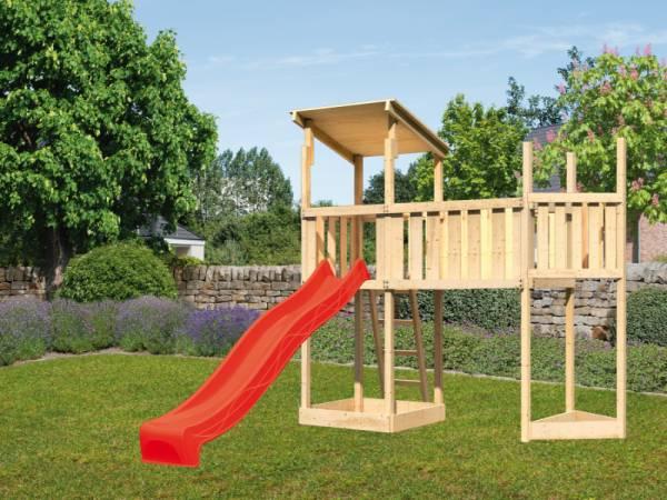 Akubi Spielturm Anna +Rutsche rot + Anbauplattform XL + Schiffsanbau oben