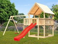 Akubi Spielturm Luis Satteldach + Rutsche rot + Doppelschaukel + Anbauplattform
