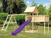 Akubi Spielturm Lotti natur mit Anbauplattform XL, Doppelschaukel inkl. Klettergerüst und Rutsche vi