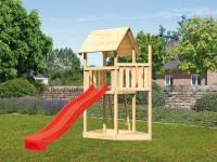 Akubi Spielturm Lotti Satteldach + Schiffsanbau oben + Rutsche in rot