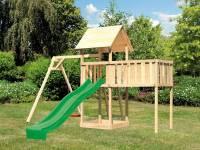 Akubi Spielturm Lotti natur mit Anbauplattform XL, Einzelschaukel und Rutsche grün