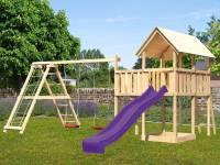 Akubi Spielturm Danny Satteldach + Rutsch violett + Doppelschaukelanbau Klettergerüst