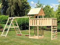 Akubi Spielturm Lotti Satteldach + Doppelschaukelanbau Klettergerüst + Anbauplattform XL + Kletterwa