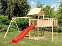 Akubi Spielturm Lotti natur mit Anbauplattform XL, Doppelschaukel und Rutsche rot