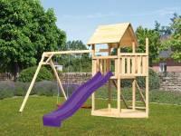 Akubi Spielturm Lotti Satteldach + Schiffsanbau oben + Doppelschaukel + Netzrampe + Rutsche in viole