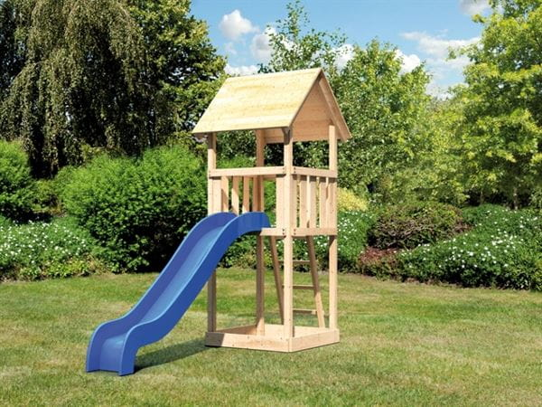 Akubi Spielturm Lotti Set mit Wellenrutsche in blau