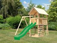 Akubi Spielturm Danny Satteldach + Rutsche grün + Einzelschaukel + Kletterwand