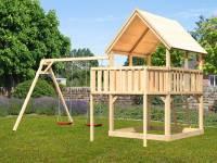 Akubi Spielturm Luis Satteldach + Doppelschaukel + Anbauplattform