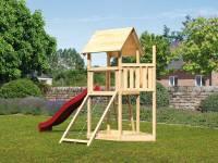 Akubi Spielturm Lotti Satteldach + Schiffsanbau oben + Netzrampe + Rutsche in rot