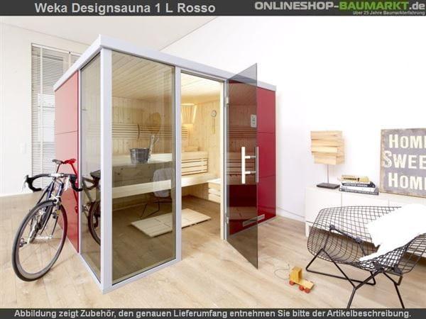 Weka Wellnissage Premium Designsauna 1L Rosso ohne Ofen inkl. Montage