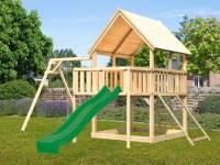 Akubi Spielturm Luis Satteldach + Rutsche grün + Einzelschaukel + Anbauplattform + Netzrampe