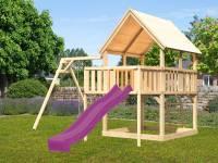 Akubi Spielturm Luis Satteldach + Rutsche violett + Einzelschaukel + Anbauplattform