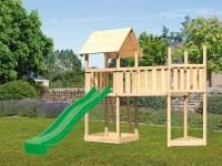 Akubi Spielturm Lotti Satteldach + Schiffsanbau oben + Anbauplattform XL + Rutsche in grün