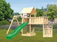 Akubi Spielturm Lotti + Schiffsanbau unten + Anbauplattform XL + Kletterwand + Einzelschaukel + Ruts