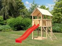 Akubi Spielturm Danny Satteldach + Rutsche rot + Netzrampe