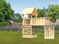 Akubi Spielturm Lotti + Schiffsanbau unten + Anbauplattform XL + Kletterwand