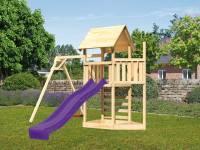 Akubi Spielturm Lotti Satteldach + Schiffsanbau oben + Einzelschaukel + Kletterwand + Rutsche in vio