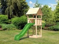 Akubi Spielturm Lotti Set mit Wellenrutsche in grün