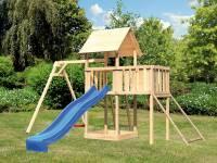 Akubi Spielturm Lotti Satteldach + Rutsche blau + Einzelschaukel + Anbauplattform + Netzrampe