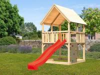 Akubi Spielturm Luis Satteldach + Rutsche rot + Anbauplattform + Kletterwand
