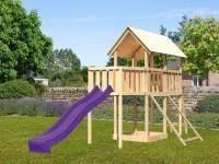 Akubi Spielturm Danny Satteldach + Rutsche violett + Anbauplattform + Netzrampe