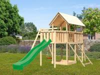 Akubi Spielturm Danny Satteldach + Rutsche grün + Einzelschaukel + Anbauplattform + Netzrampe
