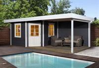Weka Gartenhaus 5-Eck-Haus 213 Gr 2 anthrazit Anbau 300 cm