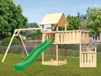 Akubi Spielturm Lotti + Schiffsanbau unten + Anbauplattform XL + Doppelschaukel + Rutsche grün