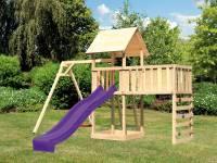 Akubi Spielturm Lotti Satteldach + Rutsche violett + Einzelschaukel + Anbauplattform XL + Kletterwan