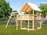 Akubi Spielturm Luis Satteldach + Einzelschaukel + Anbauplattform + Kletterwand