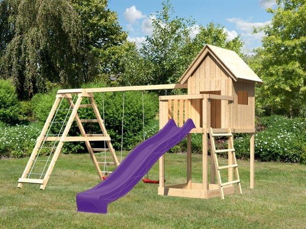 Akubi Spielhaus Frieda mit Doppelschaukel inkl. Klettergerüst und Rutsche in violett