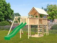 Akubi Spielturm Danny Satteldach + Rutsche grün + Doppelschaukel + Anbauplattform XL + Kletterwand