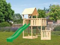 Akubi Spielturm Lotti + Schiffsanbau unten + Anbauplattform + Netzrampe + Rutsche in grün