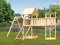 Akubi Spielturm Lotti Satteldach + Schiffsanbau oben + Einzelschaukel + Anbauplattform XL + Netzramp