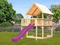 Akubi Spielturm Luis Satteldach + Rutsche violett + Anbauplattform