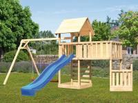 Akubi Spielturm Lotti + Schiffsanbau unten + Anbauplattform XL + Kletterwand + Doppelschaukel + Ruts