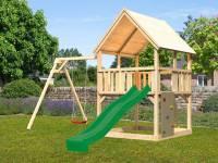 Akubi Spielturm Luis Satteldach + Rutsche grün + Einzelschaukel + Kletterwand