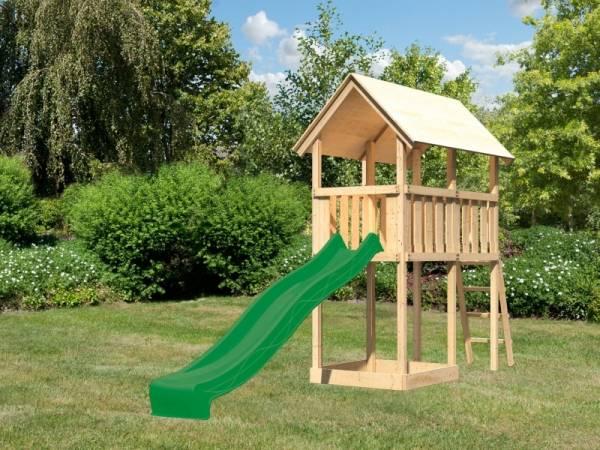 Akubi Spielturm Danny mit Rutsche in grün