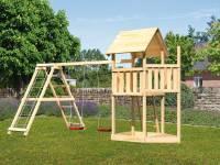 Akubi Spielturm Lotti Satteldach + Schiffsanbau oben + Doppelschaukel mit Klettergerüst