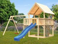 Akubi Spielturm Luis Satteldach + Rutsche blau + Doppelschaukel + Anbauplattform + Kletterwand