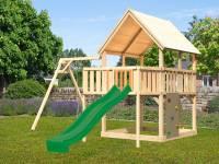 Akubi Spielturm Luis Satteldach + Rutsche grün + Einzelschaukel + Anbauplattform + Kletterwand