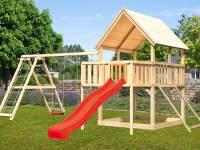 Akubi Spielturm Luis Satteldach + Rutsche rot + Doppelschaukelanbau Klettergerüst + Anbauplattform +