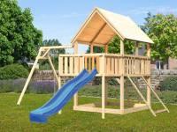 Akubi Spielturm Luis Satteldach + Rutsche blau + Einzelschaukel + Anbauplattform + Netzrampe