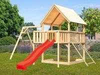 Akubi Spielturm Luis Satteldach + Rutsche rot + Einzelschaukel + Anbauplattform + Netzrampe