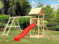 Akubi Spielturm Lotti- Doppelschaukel mit Klettergerüst, Netzrampe und Rutsche in rot