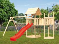 Akubi Spielturm Lotti Satteldach + Schiffsanbau oben + Anbauplattform + Doppelschaukel + Rutsche in