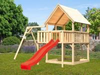 Akubi Spielturm Luis Satteldach + Rutsche rot + Einzelschaukel + Anbauplattform