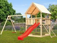 Akubi Spielturm Luis Satteldach + Rutsche rot + Doppelschaukel + Netzrampe