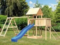 Akubi Spielturm Lotti Satteldach + Rutsche blau + Doppelschaukelanbau Klettergerüst + Anbauplattform